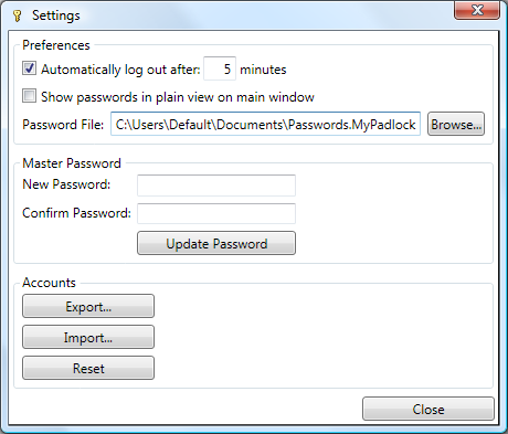 MyPadlock Free Password Manager Software settings window