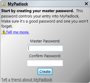 MyPadlock Free Password Manager Software startup window